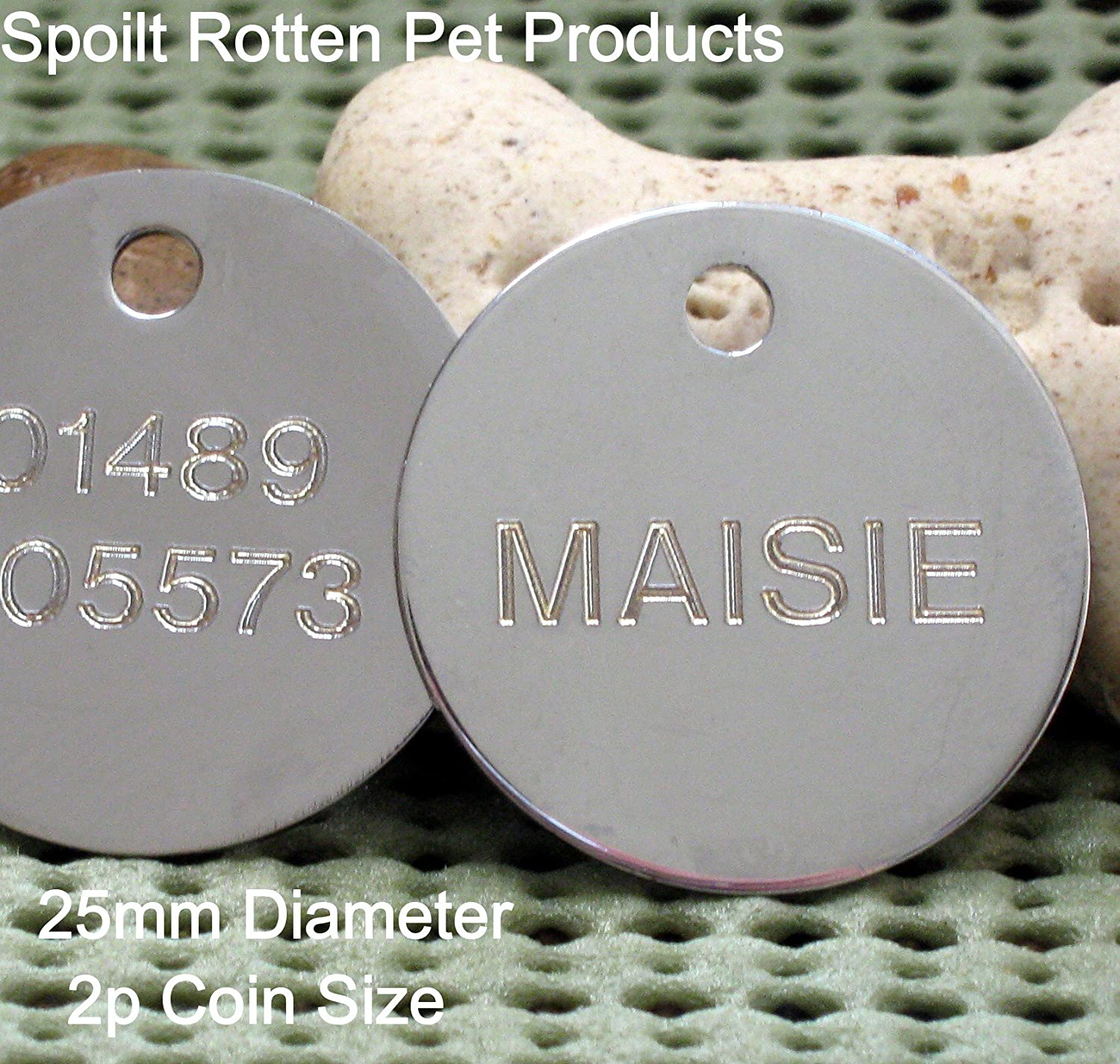 Red Spoilt Rotten Pets Red 25mm Diameter Disc Medium Round Identity Tag Personalised Engraved On FRONT /& REVERSE With Your Choice Of Details