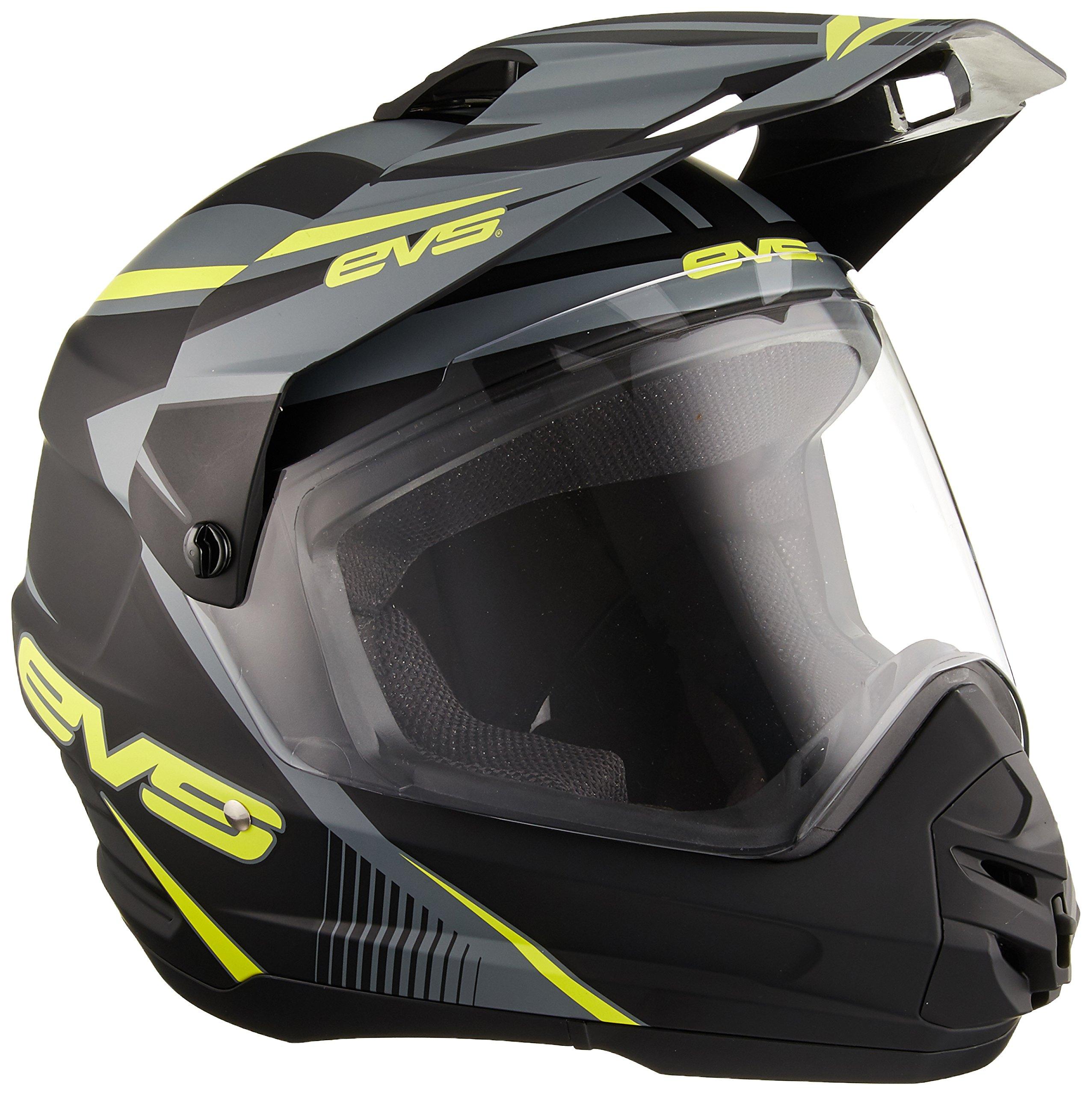 EVS Sports T5 Dual Sport Venture Helmet (Matte Black/Hi-Viz Yellow, Medium)