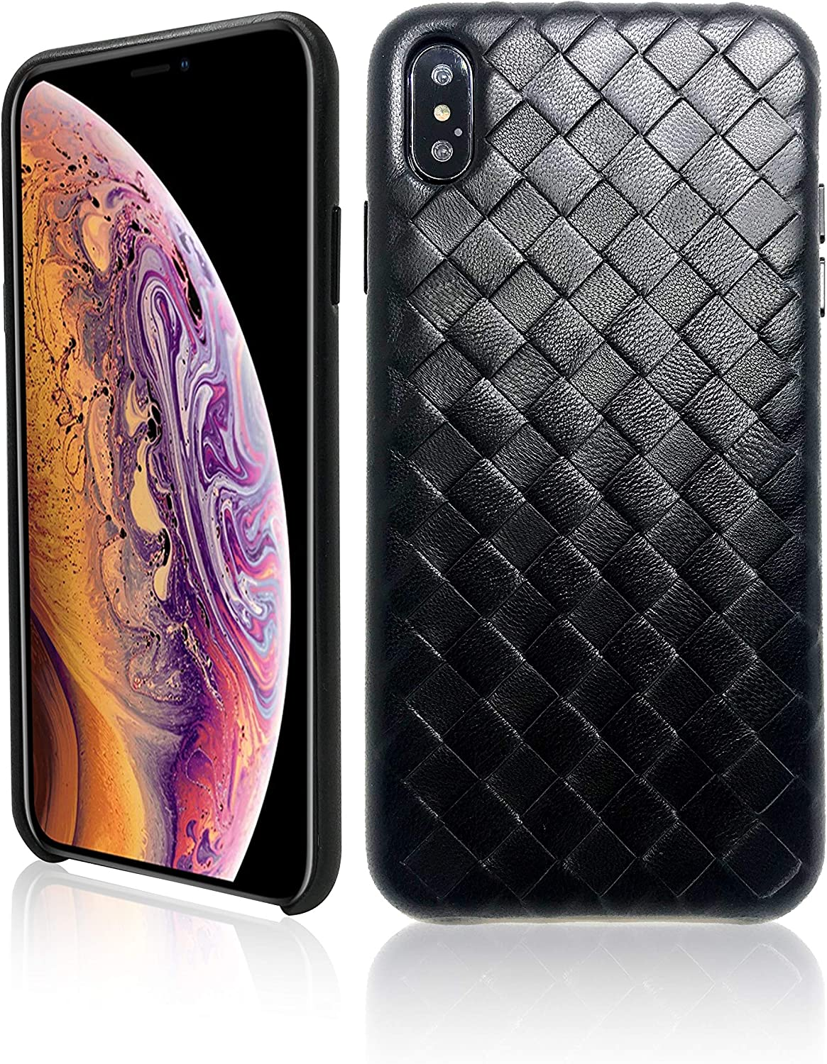 Premium Genuine Leather Case for iPhone Xs Max 6.5 Inch Hand Made from Soft Lambskin Leather Full Body Protection Bumper Leather Case Compatible iPhone Xs Max (Soft Lambskin Edition) (Black Lambskin)