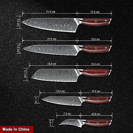 YARENH Juego de Cuchillos de Cocina 5 Piezas - Set Cuchillos Cocina Profesional de Acero Damasco Japoneses & Mango de Madera Dalbergia,Cuchillo ...