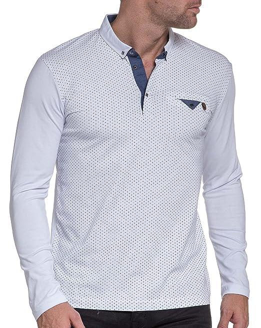 BLZ Jeans Polo Homme Blanc à Pois Manches Longues - Couleur  Blanc - Taille  1419ce939893