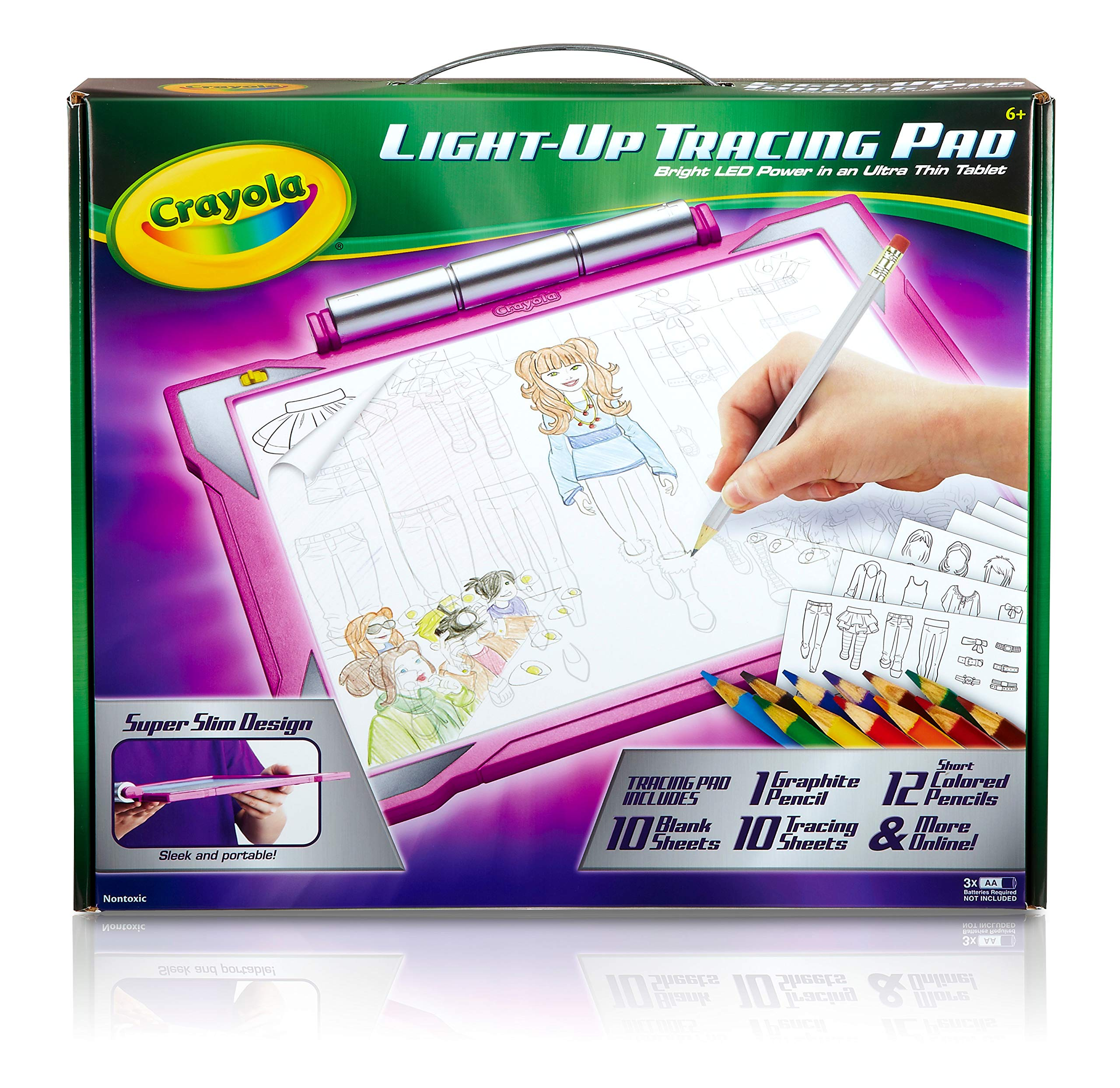 Crayola Light-up Tracing Pad - Pink, Coloring Board for Kids, Tracing Pencil and Sheets, 12 Colored Pencils, Easy Coloring Pages by Crayola