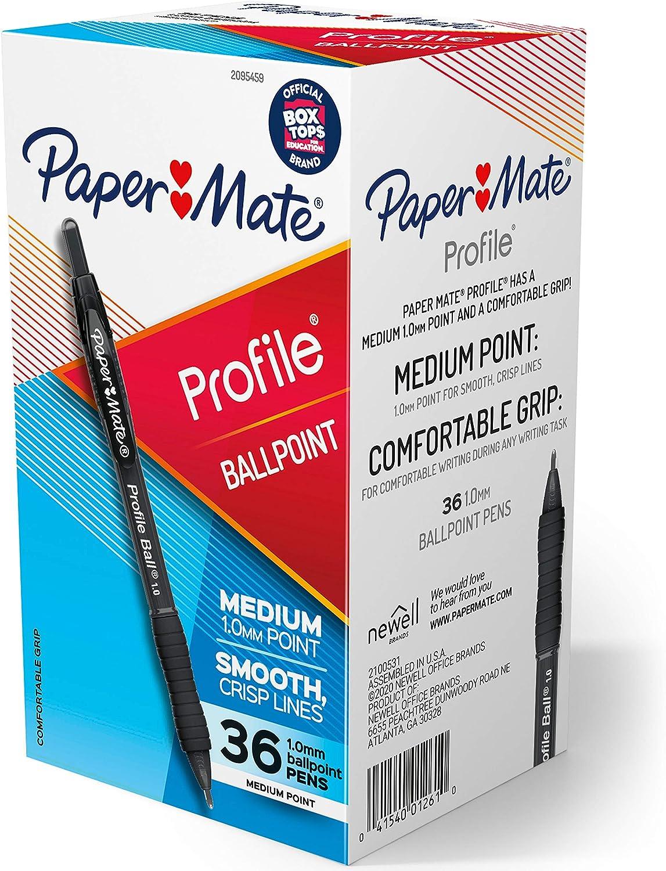 Paper Mate Ballpoint Pen, Profile Retractable Pen, Medium Point (1.0mm), Black, 36 Count : Office Products