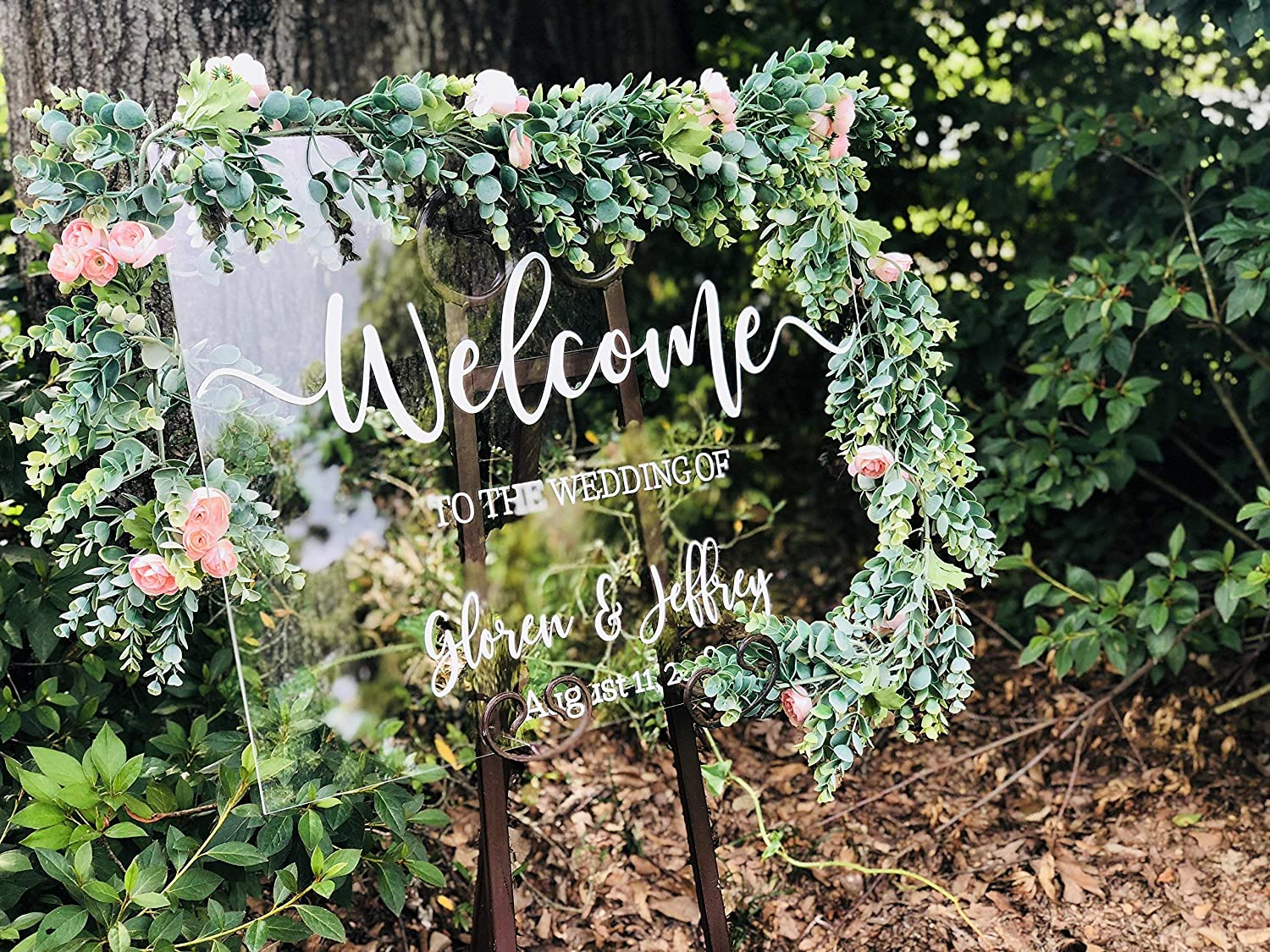 Clear Glass Look Wedding Welcome Acrylic Custom Modern Sign Personalized  for Display