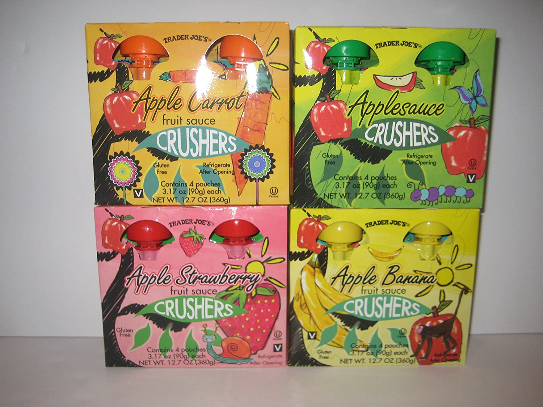 Trader Joe's Crushers Applesauce, Apple Carrot, Applesauce, Apple Strawberry, Apple Banana Fruit Sauce (4)- Pouches Each. Total (16)- 3.17 Oz Each Pouches Bundle