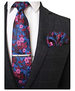 RBOCOTT Floral Tie Silk Necktie and Pocket Square,Tie clip set for Men(2)