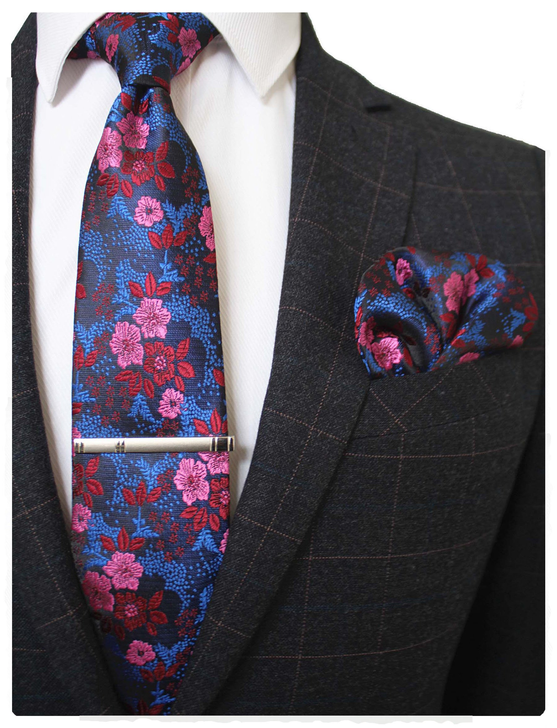 0fab8aa340e4 JEMYGINS Floral Necktie and Pocket Square Tie Clip Sets for Men product  image