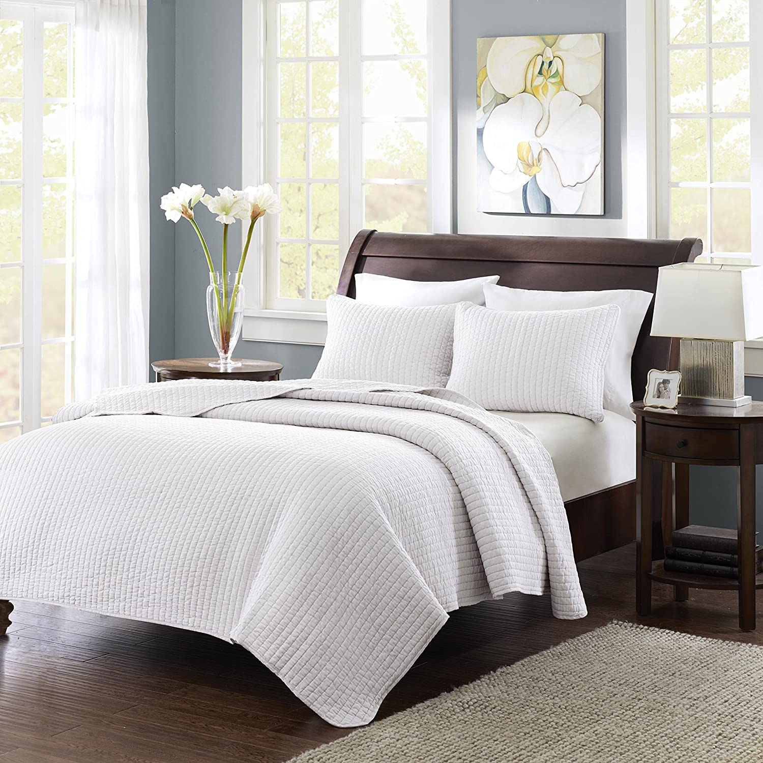 Amazon.com: Madison Park Keaton 3 Piece Coverlet Set, Full/Queen, White:  Home U0026 Kitchen