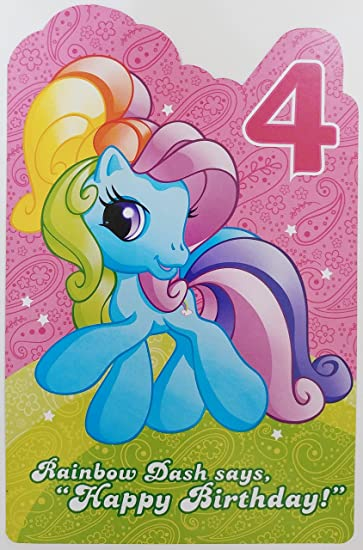Amazon My Little Pony Happy 4th Birthday Greeting Card
