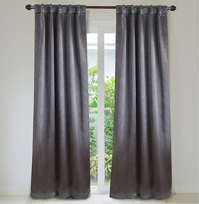 Amazon.com: Dainty Home Manchester Rod Pocket/Back Tab Blackout Panel Pair, 76x84 , Gray: Home & Kitchen
