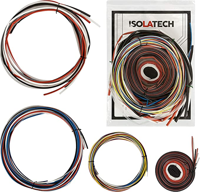 73 metros de tubo retr/áctil ISOLATECH Conjuntos de surtidos Todos los tama/ños y colores en cada pieza Longitud total 73 metros