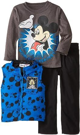 cbc551690 Amazon.com: Disney Boys' Mickey Mouse 3 Piece Nylon Vest Set: Clothing