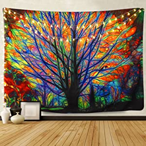 "BLEUM CADE Colorful Tree Tapestry Wall Hanging Psychedelic Forest with Birds Wall Tapestry Bohemian Mandala Hippie Tapestry for Bedroom Living Room Dorm (The Tree, 59.1""X59.1"")"