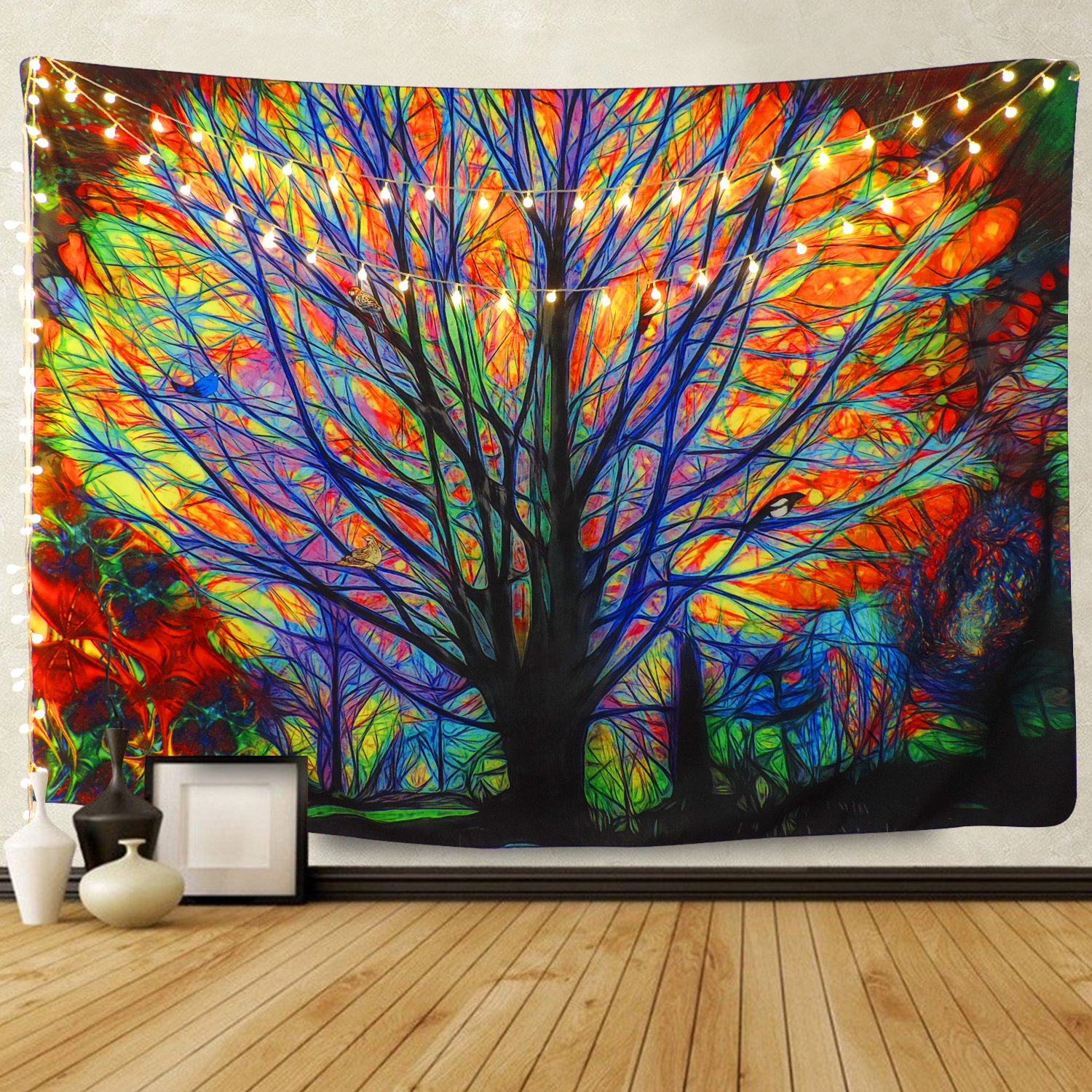 BLEUM CADE Colorful Tree Tapestry Wall Hanging Psychedelic Forest with Birds Wall Tapestry Bohemian Mandala Hippie Tapestry for Bedroom Living Room Dorm by BLEUM CADE