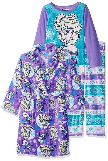 df97d19f7edc Amazon.com  Disney Girls  Frozen 3-Piece Robe Pajama Set  Clothing