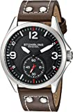 Stuhrling Original Men's Quartz Watch with Black Dial Analogue Display and Brown Leather Strap 684.01