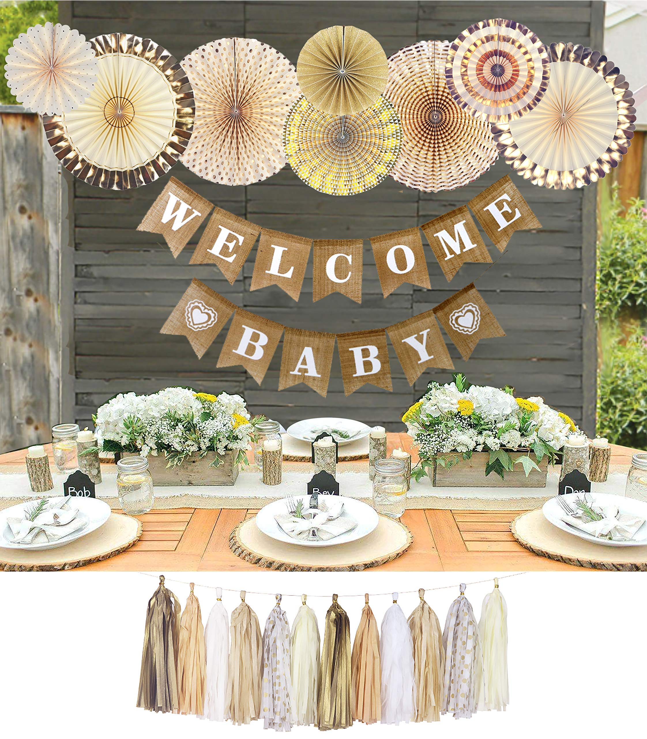 YARA Neutral Baby Shower Decorations for Coed, Unisex, Boy or Girl, Rustic Welcome Baby Banner in Burlap, Tassels, Gold and White Gender Neutral Baby Shower Decor Set, Gold Paper Fans Decorations by Yara Enterprises (Image #7)