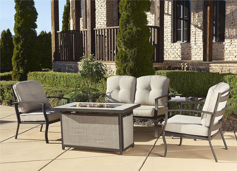 Amazon.com : Cosco Outdoor Serene Ridge Aluminum Propane Gas Fire Pit Table  With Lid, Rectangular, Dark Brown : Garden U0026 Outdoor