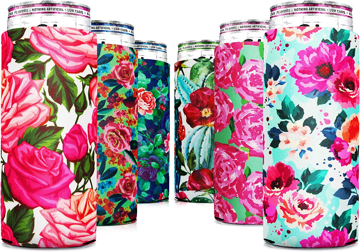 Skinny Can Coozie Slim Can Cooler for Slim Beer & Hard Seltzer, [ 6 PCS ] Skinny Beer Cans Coolie Skinny Insulators, Claw Can Cooler Sleeve Flower