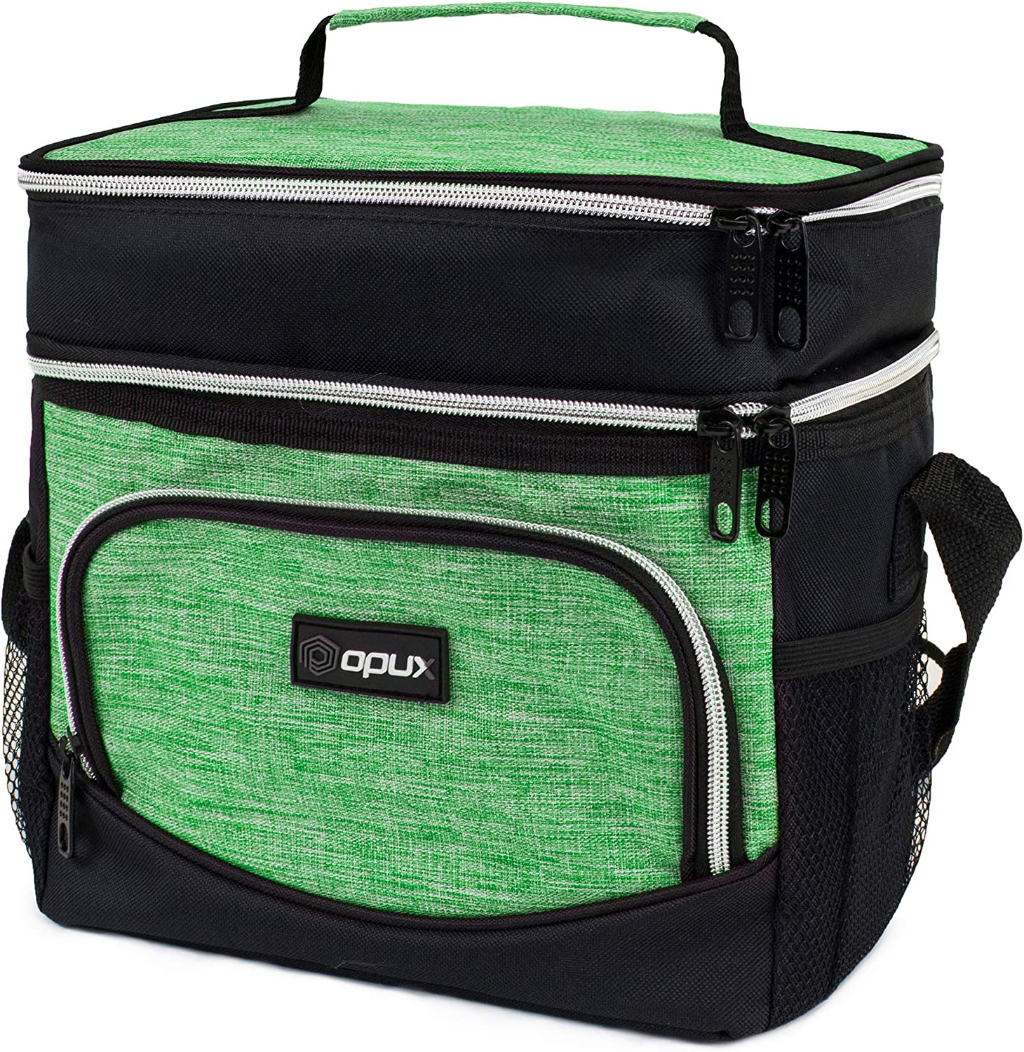 OPUX Insulated Dual Compartment Lunch Box for Men Women   Double Deck Leakproof Reusable Soft Lunch Bag Tote with Shoulder Strap for Work Office School Kid   Lunch Pail, Fits 12 Cans, Heather Green