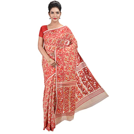03f61a3125ae6 Raj Sarees Women s Dhakai Jamdani Saree without Blouse Piece (Off-white  with Red