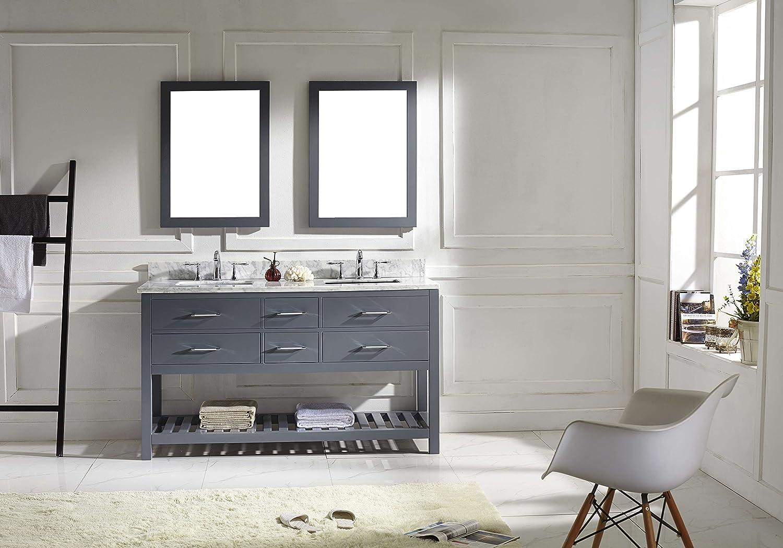 Virtu MDWMSQGR Caroline Estate Double Bathroom Vanity - 60 inch bathroom vanity double sink