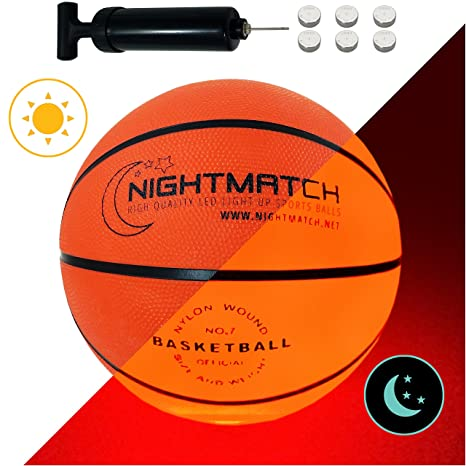 2b2126dd981 NIGHTMATCH Light Up Basketball INCL. Ball Pump and Spare Batteries - Inside  LED Lights up