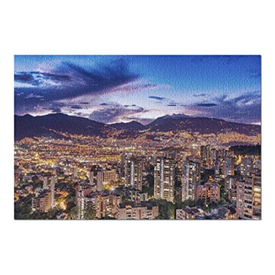 Medellin, Colombia - City Skyline & Lights at Night 9026669 (Premium 1000 Piece Jigsaw Puzzle for Adults, 20x30, Made in USA!): Toys & Games