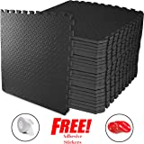 """ComFy Puzzle exercise Mats   Large Black EVA Foam Interlocking Protective Flooring Tiles For Home Gym, Garage, Outdoor, Kids & Baby Play room Area   Cushions for Fitness, Workout, Yoga & HIIT Mat   Bonus Adhesive Stickers  24""""x24""""x10 mm  4-192 SQ FT"""