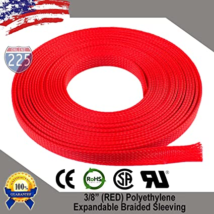 """20 FT 3//8/"""" Black Green Expandable Wire Sleeving Sheathing Braided Loom Tubing US"""