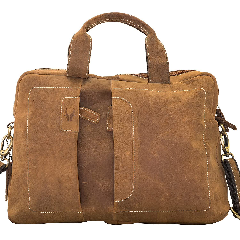 f2b01e2f97a3 Amazon.com  Hell Blues Men s Genuine Leather Briefcase Messenger Bag  Attache Case 15.6