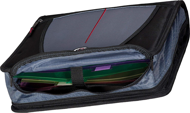 Black D-146-BLK Renewed Case-it Mighty Zip Tab 3-Inch Zipper Binder