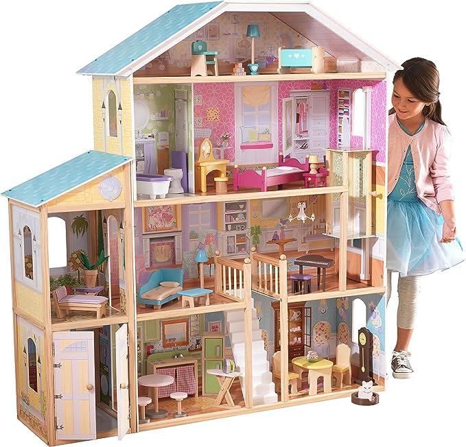 Amazon.es: KidKraft- Majestic Mansion Casa de muñecas de madera con muebles y accesorios incluidos, 4 pisos, para muñecas de 30 cm, Color Multicolor (65252) : Juguetes y juegos