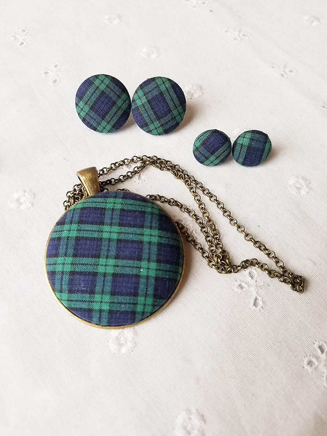 Plaid, Buffalo Check Jewelry/Plaid Necklace/Plaid Earrings/Buffalo Check Earrings/Fabric Earrings/Button Earrings/Blue and Green Plaid/Tartan