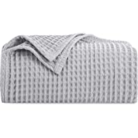HBlife Premium 100% Cotton Blanket Twin Size, Soft Lightweight Breathable Waffle Weave Thermal Blanket for Home…