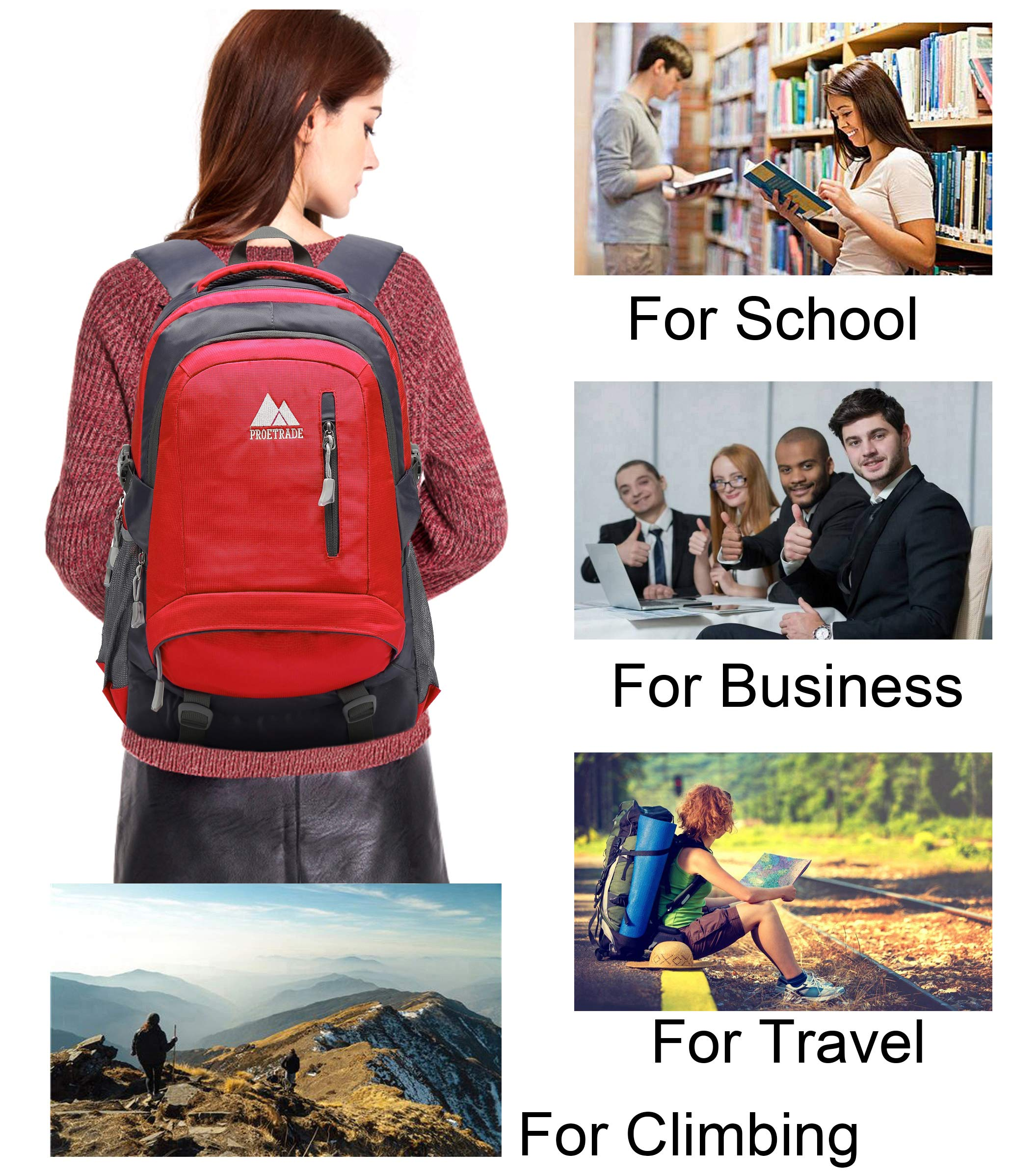 School Backpack BookBag For College Travel Hiking Fit Laptop Up to 15.6 Inch Water Resistant (Red) by ProEtrade (Image #6)