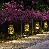 GIGALUMI Hanging Solar Mason Jar Lid Lights 6 Pack 15 Led String Fairy lights Solar Laterns Table Lights 6 Hangers and…