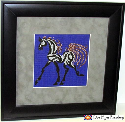 Amazon.com: Beaded Tapestry, Tribal Horse, Framed, Wall Art: Handmade