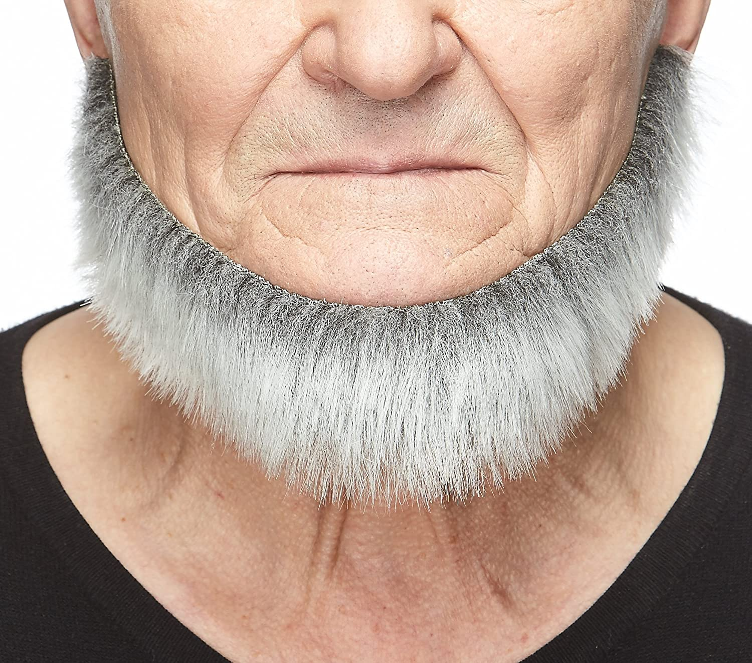 Mustaches Self Adhesive, Novelty, Fake Morman Beard Gray with White Color