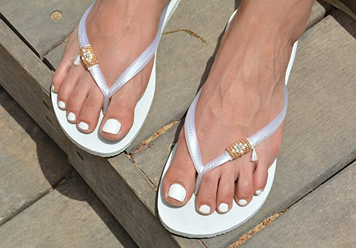eec4f611863015 Image Unavailable. Image not available for. Color  Wedding Flip Flops for  Women
