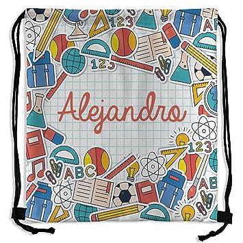 Mochila Saco Personalizada con Nombre. Vuelta al Cole. Varios Diseños. School: Amazon.es: Deportes y aire libre