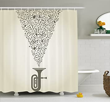 music shower curtain by lunarable musical notes bursting out of an abstract pipe artistic creativity - Musical Shower Curtains