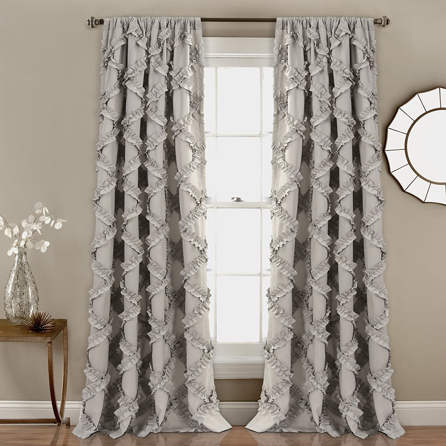 "Lush Decor Ruffle Diamond Curtains Textured Window Panel Set for Living, Dining Room, Bedroom (Pair), 84"" x 54"", Gray, 84"" x 54"","