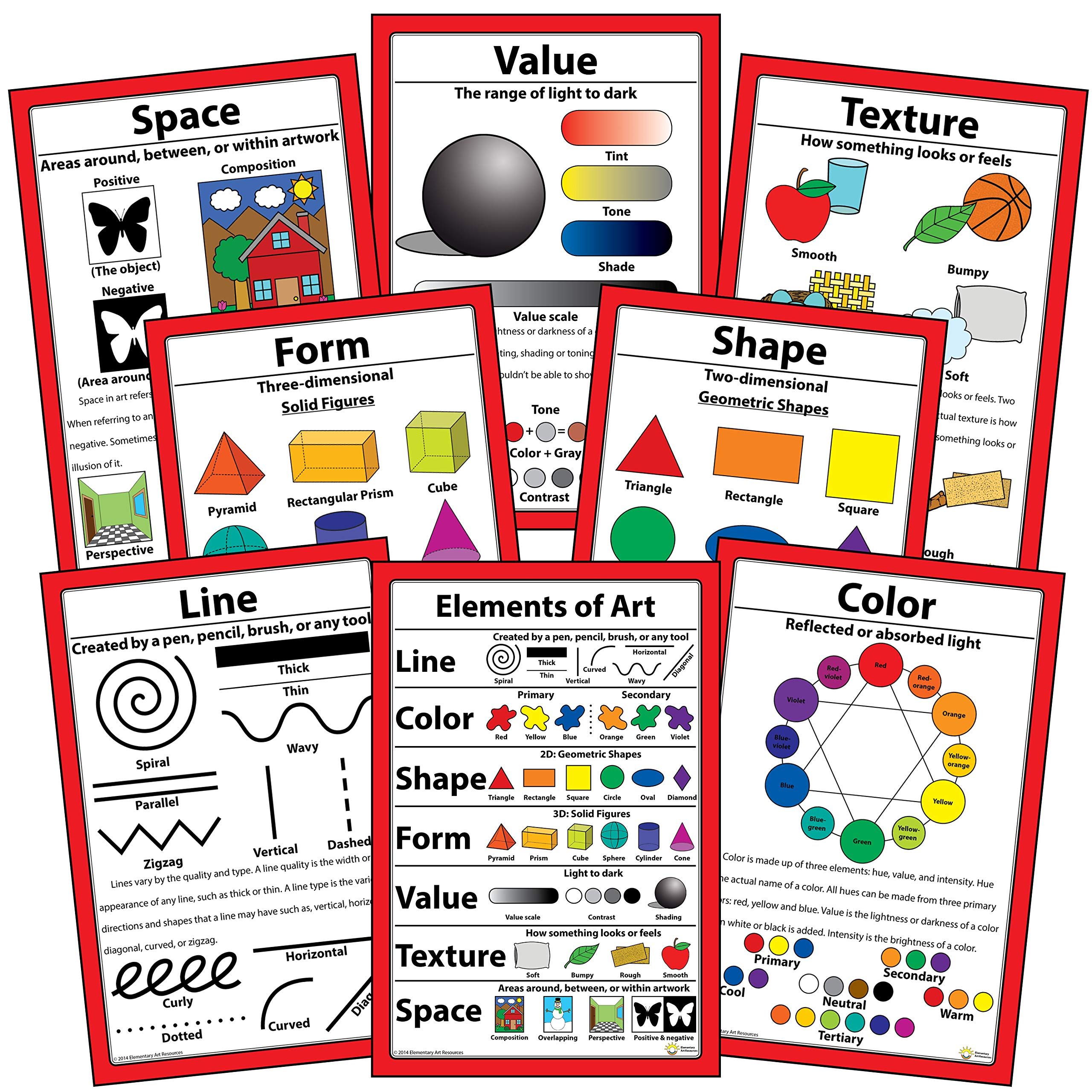 Elements of Art Posters 12'' X 18'' (Set of 8)