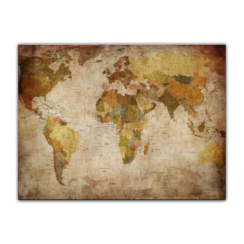 Bilderdepot24 Kunstdruck - Weltkarte retro - Bild auf Leinwand - 70 ...