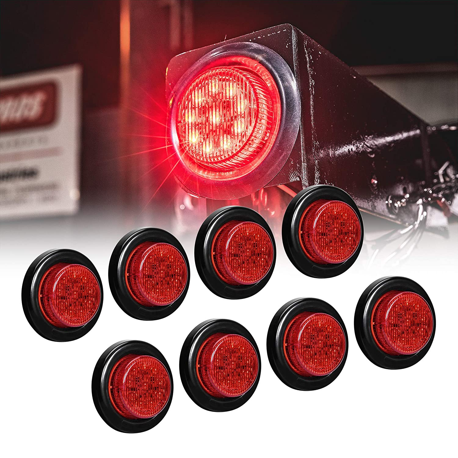 "8pc 2"" Red Round Trailer LED Marker Lights [DOT Approved] [Reflector Lens][10 LED] [Grommet] [Flush-Mount] [Waterproof IP67] Marker Lights for Trailer Truck 91jIRxwdTLL"
