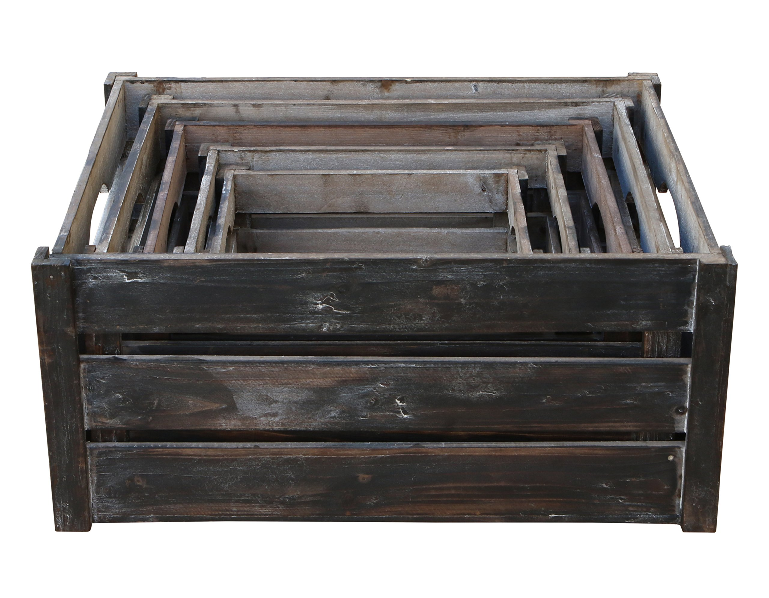 Cheung's FP-3697-5 Nested Wood Slat Crate  Set of 5