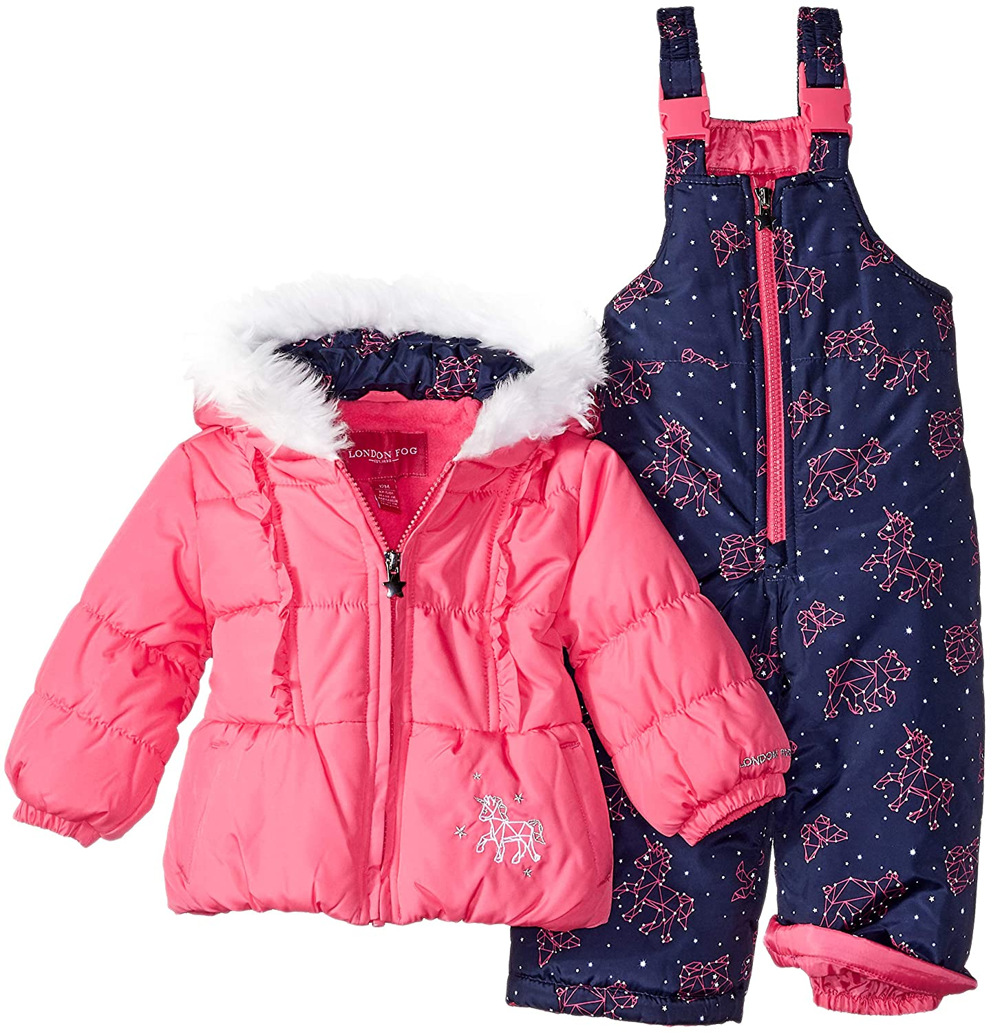 4fb81c905 Amazon.com: London Fog Baby Girls' Snowsuit with Snowbib and Puffer Jacket:  Clothing