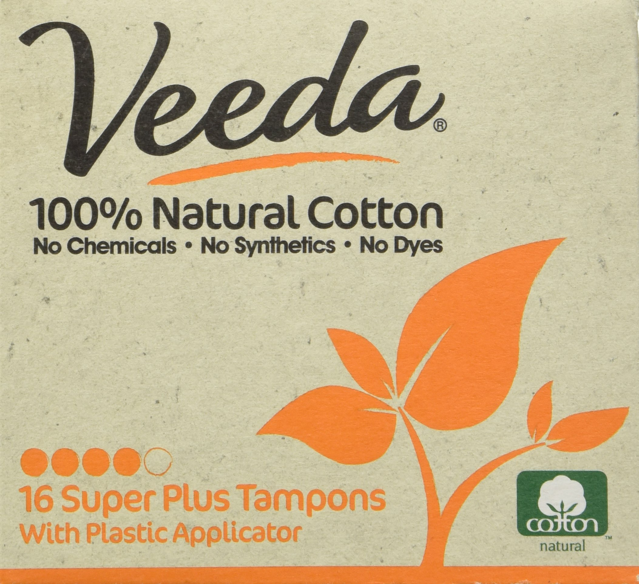 Veeda Natural All-Cotton Tampons, Super Plus, Compact Applicator, 16 Count