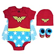 DC Comics Baby Girls Superman, Wonder Woman, Flash, Batman 3-pc Set in Gift Box, red, 0-6